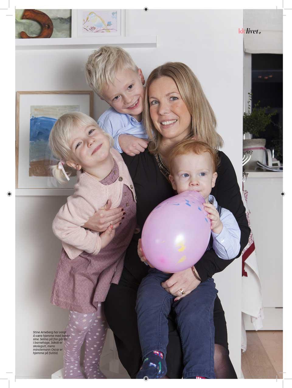 Stine Arneberg og barna Jakob, Selma og Oskar. Faksimile fra KK. Foto: Anne Elisabeth Næss