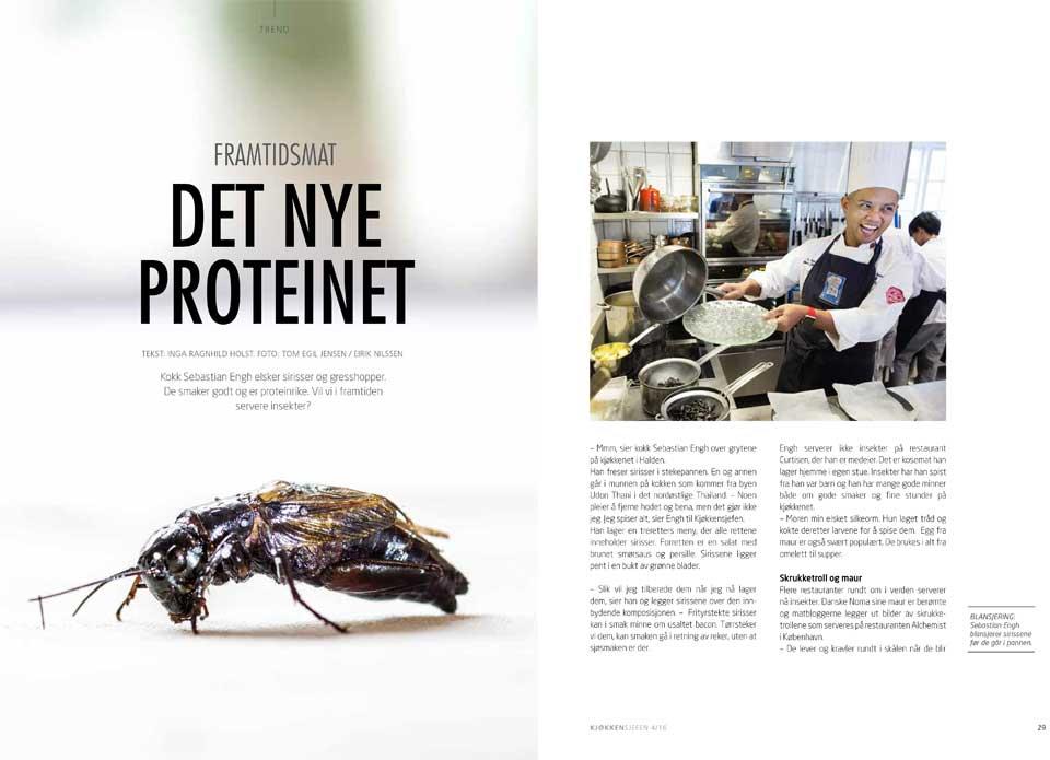 Kan insekter bli vår nye mat? Ja, mener forskerne. Mange spiser allerede insekter som Sebastian Engh fra Thailand. Faksimile fra Kjøkkensjefen-